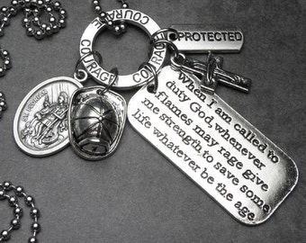 Firefighter Fireman Patron Saint Florian Catholic Holy Medal & Charm Necklace OR Key Chain, Protection, Catholic Gift, Devotional Jewelry