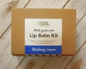 DIY Lip Balm Kit - 12 Lip Balms - Blueberry Lemon - Biodegradable Compostable Packaging