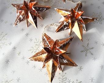 Modern Christmas Holiday Metallic Rose Gold Paper Star Decoration - Rustic Christmas Decor