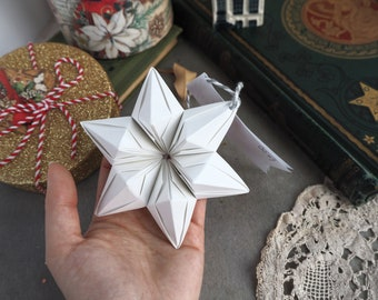 Scandinavian Christmas Tree Decoration - White Origami Paper 6 Point Star Ornament