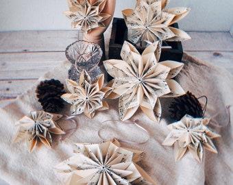 Modern Scandinavian Vintage Music Sheet Snowflake Christmas Ornament - Simple Paper Christmas Decoration