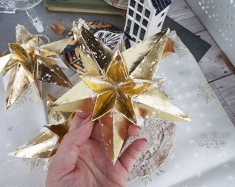 3 Modern Metallic Champagne Gold Origami Paper Star Christmas Decoration - Rustic Christmas Ornaments