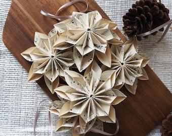 Hygge living Vintage Music Sheet Snowflake Flower Christmas Ornament - Eco Friendly Christmas