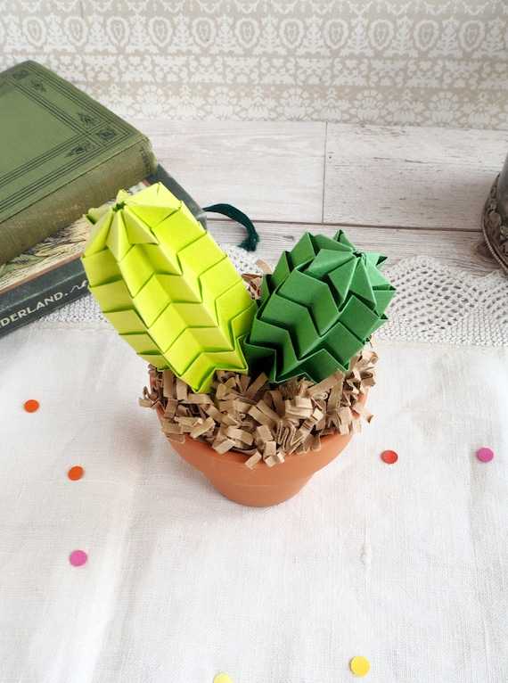 Cute Cactus Origami Paper Office Plant Colourful Home Decor Etsy