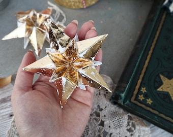 Rustic Metallic Gold Origami Paper Star Decoration - Modern Christmas Star Decor