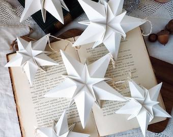 Scandi Nordic White Paper Origami Star Christmas Decoration - Modern Christmas Ornaments