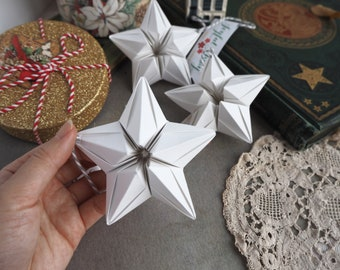Minimalist Scandi Hygge White Origami Paper Star Christmas Ornament - Eco Friendly Plastic Free Decoration