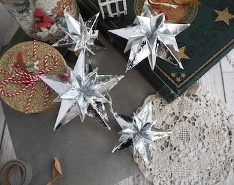 Metallic Silver Star Origami Paper Ornaments - Nordic Christmas Decor - Scandinavian Christmas - Silver Christmas Decor