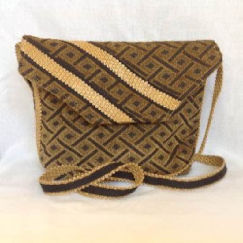 #350 Upholstery Fabric of old gold and black Handbag Purse Cross Body Bag