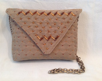 Going Out, Evening, Dressy Bag, Taupe with Beaded Flap, #251