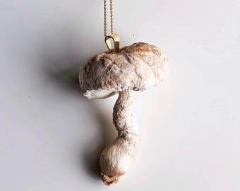 white-crem mushroom pendant,fiberart, soft sculpture,