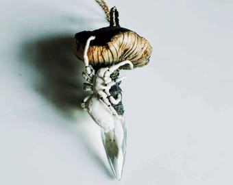 black-gold mushroom pendant,fiberart, soft sculpture,