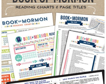 Book of Mormon Reading Charts and Page Titles – Pink and Blue Versions