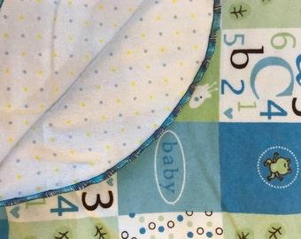 Recieving blanket/ flannel/ baby bedding/ baby shower gift/ gender neutral/ newborn swaddle blanket