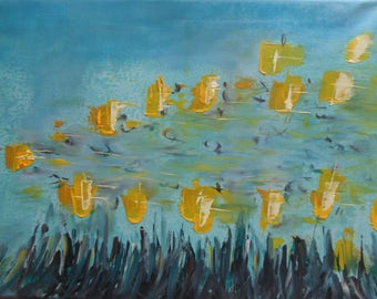 "Original Oil Painting by Nalan Laluk: """"Butterflies Flutterby"""