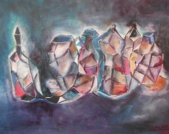 "Original abstract oil painting by Nalan Laluk: ""Love Potions"""