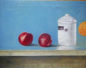 "Original Oil Painting by Nalan Laluk: ""Jam, Present and Future"""