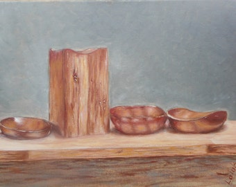 "Original oil painting by Nalan Laluk: Still Life, ""Bowls"""