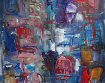 """Original Abstract Oil Painting by Nalan Laluk: """"Downtown"""""""