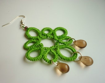 Tatted Lime Green Earrings with Brown Teardrop Beads - Choose your colour - Custom - lace handmade earrings- frivolite- simple pattern