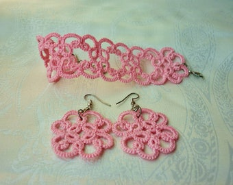 Set tatted Earrings+Bracelet - Choose your favourite colour - custom to order - gift idea for her - frivolité jewelry - handamde w/ tatting