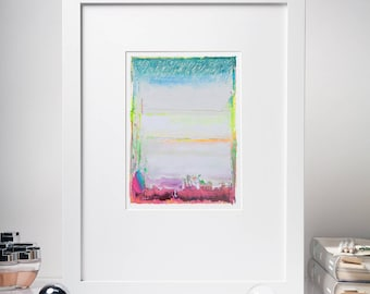 5x7'' Color Field Oil Painting, Original Abstract Painting, Gray, Blue, Yellow, Magenta, Pink, Small Painting, Contemporary Art, Modern Home