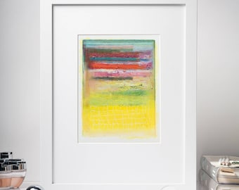 6x8'' Modern Acrylic Painting, Original Abstract Study Painting, Yellow, Red, Green, Small Painting on Paper, Color Field, Modern wall art