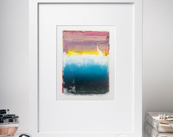 Abstract Study Painting, Original Oil Painting, Yellow, Red, Blue, Pink, Small Painting on Paper, Color Field, Modern Wall Art, Home Decor