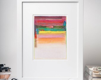 Original Acrylic Painting, Abstract Study Painting, Yellow, Red, Green, Pink, Small Painting on Paper, Color Field, Modern Home Decor, 6x8''