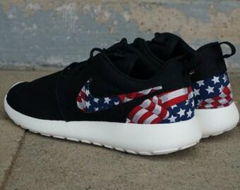 best sneakers e02f7 6e816 New Nike Roshe Run Custom Red White Blue American Flag Edition Mens Shoes  Sizes 8 - 15