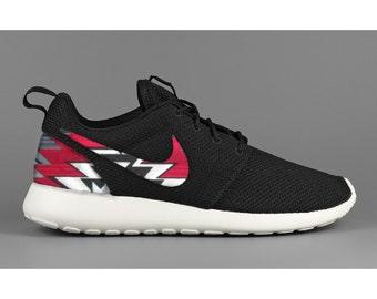 ebd7b57a3aaf New Nike Roshe Run Custom Red Black Gray Tribal