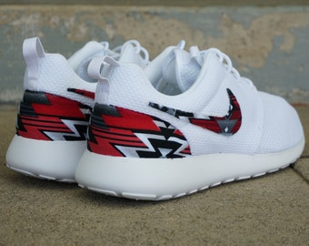 80128ce4526a7 New Nike Roshe Run Custom Red Black Gray Tribal