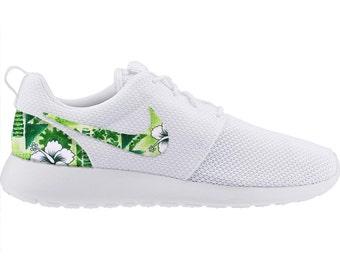 4336adb84100 New Nike Roshe Run Custom Green White Tropical Hawaiian Palm Tree Edition  Mens Shoes Sizes 8 - 15