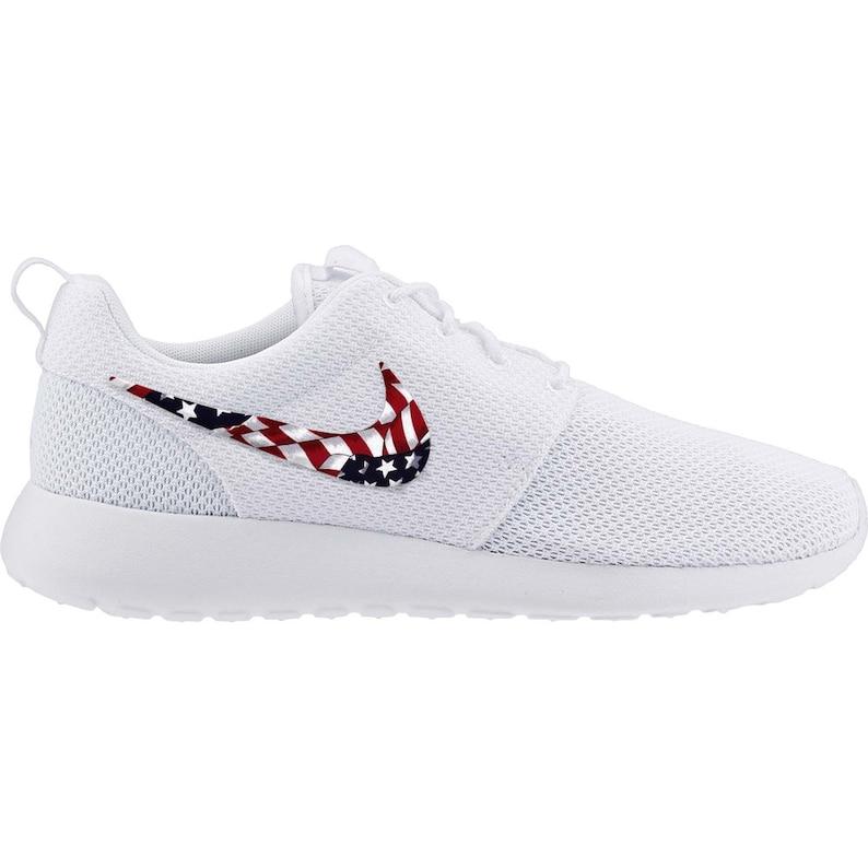 45e06ee15942 New Nike Roshe Run Custom Red White Blue American Flag Edition