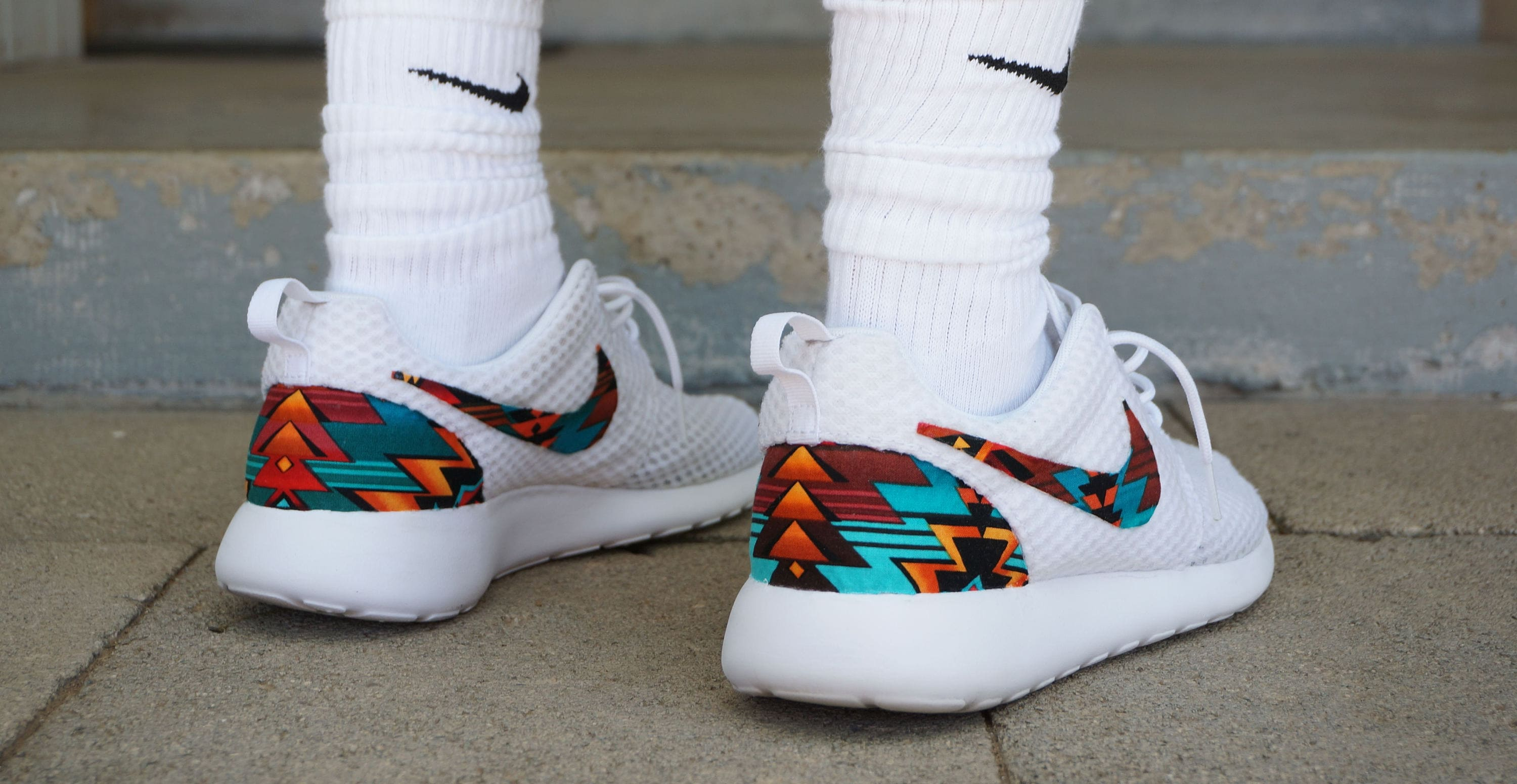 8b51ad685dad New Nike Roshe Run Custom Turquoise Orange Black White