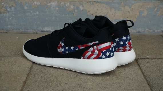 best website 88b29 c706c New Nike Roshe Run Custom Red White Blue American Flag Edition   Etsy