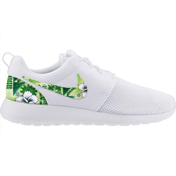 New Nike Roshe Run Custom Green White Tropical Hawaiian Palm  eb89376f60ce
