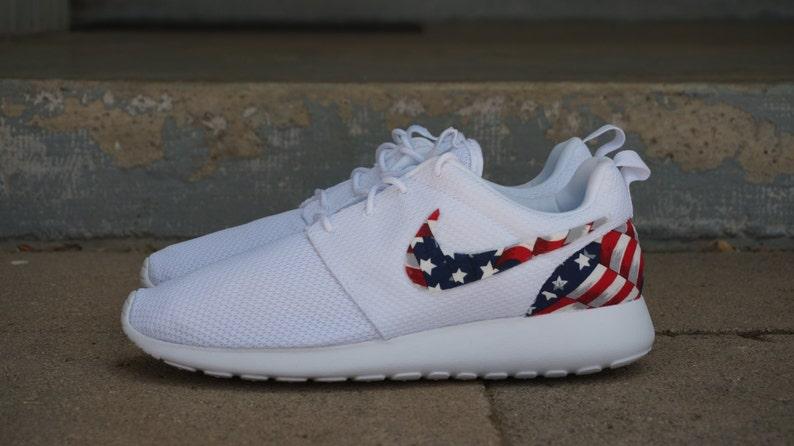 Nouvelle Nike Run Roshe personnalisé rouge blanc bleu drapeau américain édition Mens chaussures tailles 8 15