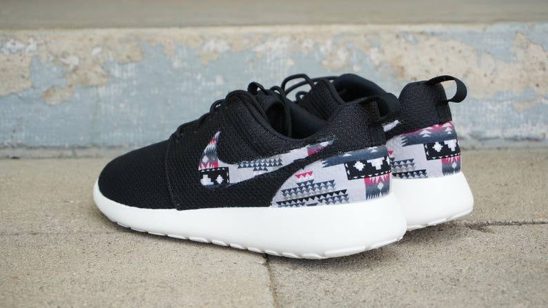 New Nike Roshe Run Custom Gray Red Black Tribal Aztec Edition Mens Shoes Sizes 7 15