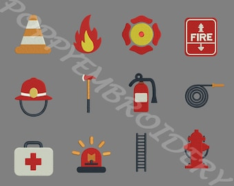 FIREFIGHTER fireman Design for Embroidery machine  /  pompier motifs pour broderie machine / INSTANT DOWNLOAD