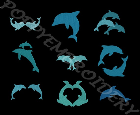 Dolphin Design For Embroidery Machine Dauphin Motif Pour Etsy
