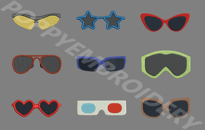 Disegni di occhiali da sole per macchina da ricamo motivi etsy