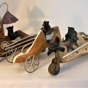 Vintage Shoe Last Repurposed Into Clever little Race Car Shoe Form Race Car