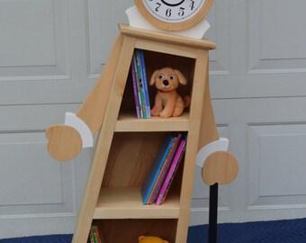 4 Leaning Clock Bookcase Kids Bookshelf Shelf OOAK Whimsical Furniture Nursery Decor