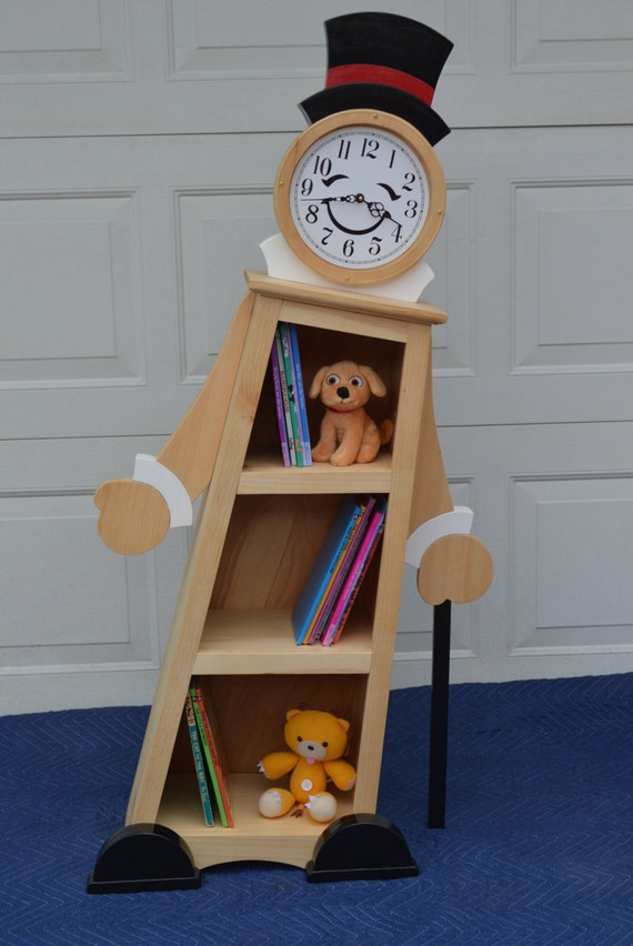 4' Leaning Clock Bookcase for Kids