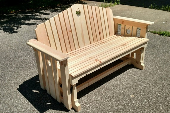 Handmade Wooden Porch Glider With Apple Design Swing