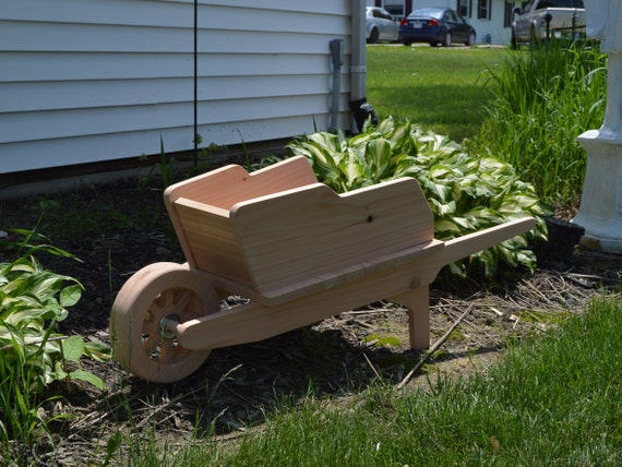 Cedar Wheelbarrow Planter Large Cedar Planter Wooden Etsy
