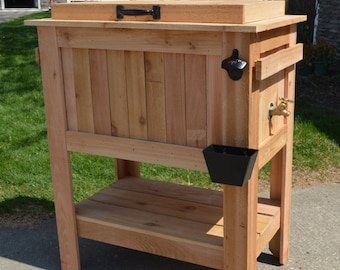 All weather 48-QT Rustic Cedar Chest Cooler Stand with Brass Drain, Bottle Opener, and Bottle Cap Catcher, beer cooler, father's day