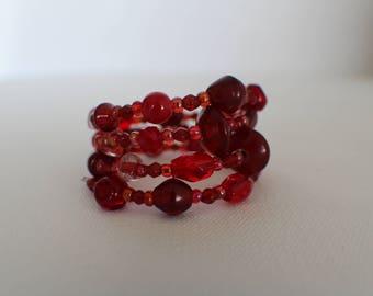 Strawberry Gelatin- Coil Bracelet
