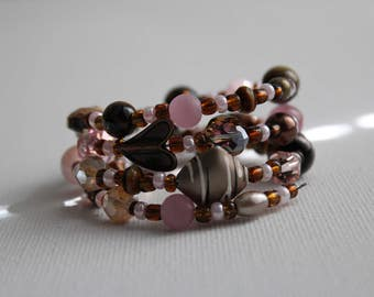 Chocolate Covered Strawberry- Coil Bracelet